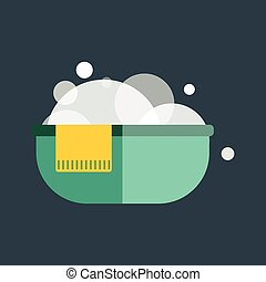Green plastic wash bowl isolated vector.