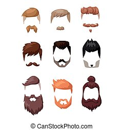 Hairstyle beard and hair face cut mask flat cartoon vector....