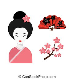 Japanese woman folk art maiden character vector. - Japanese...