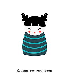 Japan girl vector illustration - Girl with happy expression...