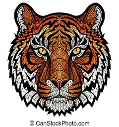 Tiger head isolated - Ornate color hand drawn head of Tiger....