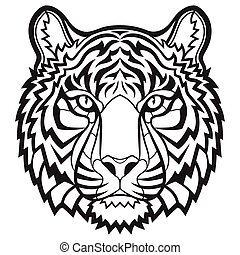 Tiger head isolated - Black and white hand drawn head of...