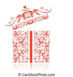 Opened gift box stylized, floral ornament design