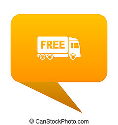 free delivery orange bulb web icon isolated.