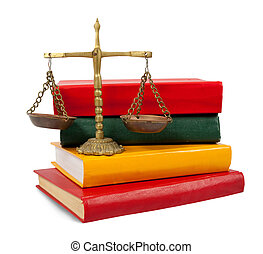 justice concept, book and scales of justice - Scales of...