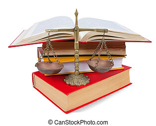 Scales of justice atop legal books over white - Scales of...