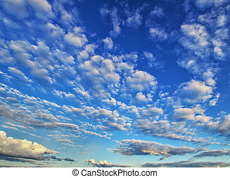 Clouds and sky - Deep blue sky at sunny day. Clouds and sky