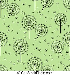 Green seamless pattern with black dandelions fluff -...