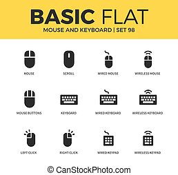 Basic set of Mouse and keyboard icons - Basic set of scroll,...