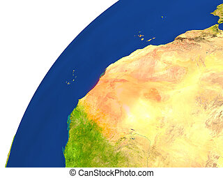 Country of Mauritania satellite view - Mauritania...