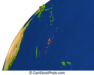 Country of Vanuatu satellite view - Vanuatu highlighted in...