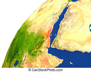 Country of Eritrea satellite view - Eritrea highlighted in...