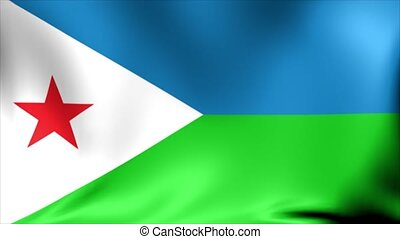 Djibouti Flag. Background Seamless Looping Animation. 4K High Definition Video.