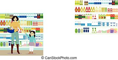 Mother and daughter in grocer vector