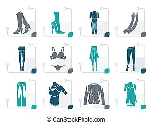 Stylized woman and female clothes  icons - vector icon set