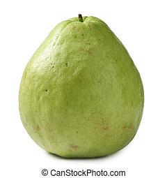 Guava, single fruit isolated on white background.
