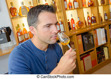 critic smelling the wine