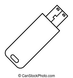 Usb flash disk - Simple thin line usb flash disk icon