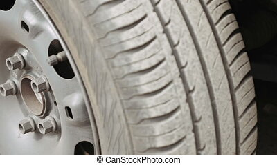 Car wheel parts - Close-up of car wheel parts - tire, rim....