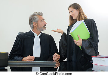 lawyer with judge