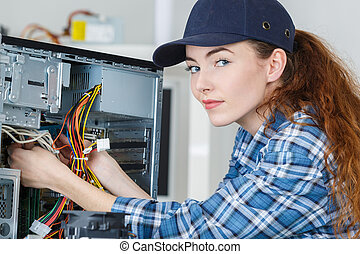 woman electronic assembler