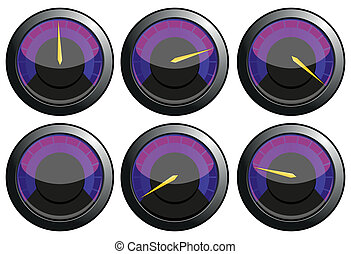 Set of purple speedometers for car or power or termometers,...