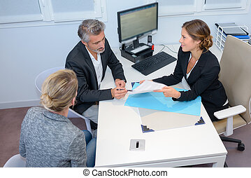 Couple looking at paperwork in meeting with businesswoman
