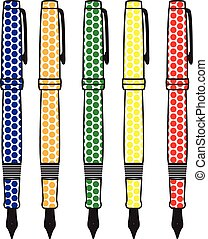 Pens. - Fountain pens with dots designs.