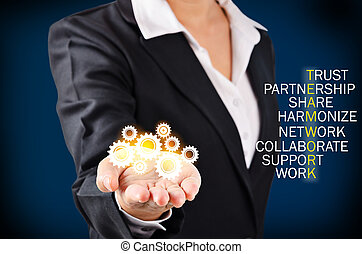 Teamwork concept. - Hand of business woman showing glass...