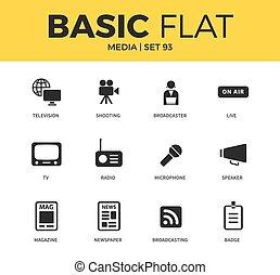 Basic set of media icons