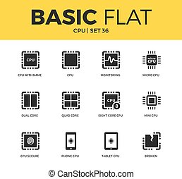 Basic set of CPU icons - Basic set of CPU and Processor...
