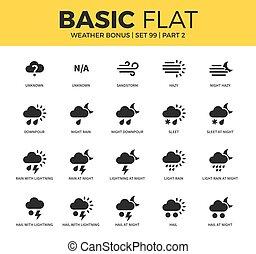 Basic set of weather bonus icons - Basic set of light rain,...