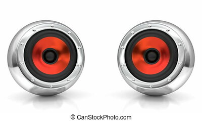 3D looping animation of stereo speakers - Red drivers...