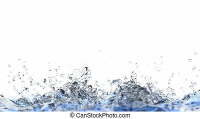 3D animation of splashing water - Blue liquid is filling the...