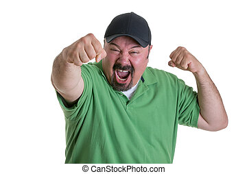 Sports Fan in Baseball Cap Celebrating - Waist Up of Excited...