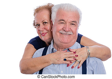 Happy older couple embracing - Pair of older husband and...