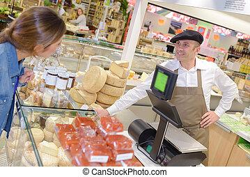 tradycyjny, ser, sprzedawca