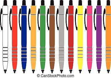 Pens. - Colourful pen designs.