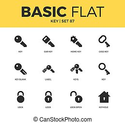 Basic set of key icons - Basic set of label, lock and case...