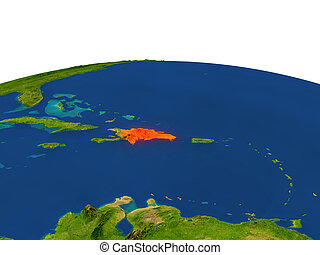 Dominican Republic in red from orbit - Dominican Republic...