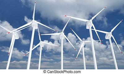 Wind turbines farm 3D animation - Wind turbines farm against...