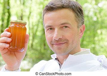 miel, tarro, tenencia