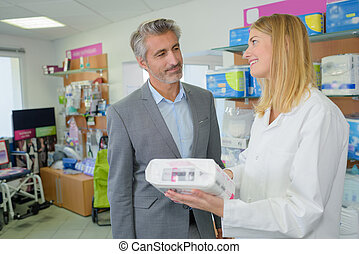 pharmacist endorsing a product