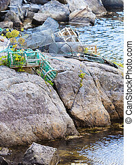 crab cages in harbor on shore - Fish trap cages for trapping...