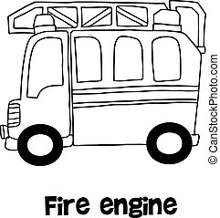 Fire engine vector with hand draw illustration