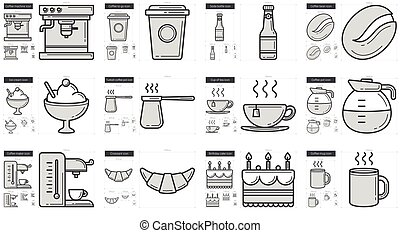Junk food line icon set. - Junk food vector line icon set...