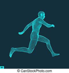 3d Running Man. Design for Sport. Human Body.