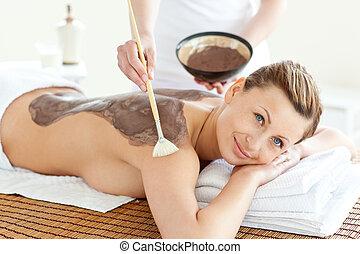 beautiful woman lying on a massage - Portrait of a beautiful...