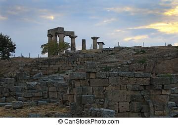 Ruins of Apollo temple in Corinth, Greece