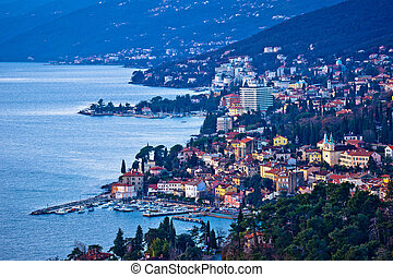 Opatija riviera bay bay and coastline view, Kvarner region...